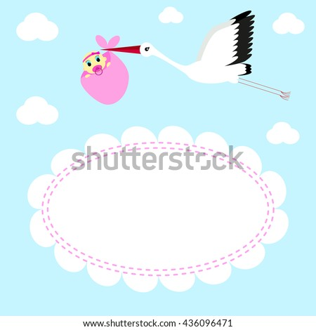 Greeting card Stork delivers baby girl on a background of clouds and sky - stock photo