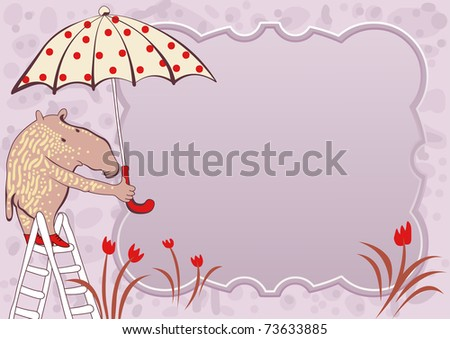 greeting card - tapir with umbrella - for vector version see image no. 72240586