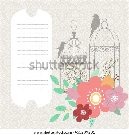 Greeting card template. Fantasy flowers bouquet and birdcages on the victorian style background.