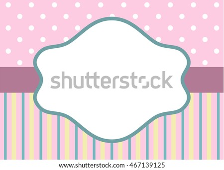 Greeting card template with stripes and polka dot on pink background for wedding, baby shower or birthday party