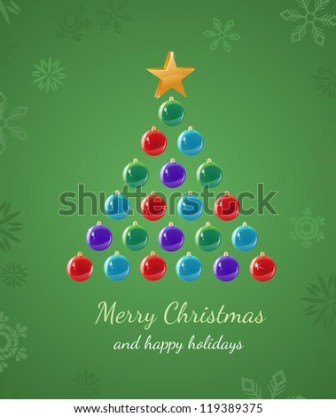 Greeting card that uses ornaments to create a Christmas Tree shape. - stock photo