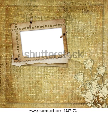 Greeting Card to holiday with roses on the newspaper background