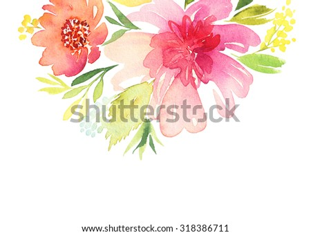 Greeting card. Watercolor flowers background - stock photo