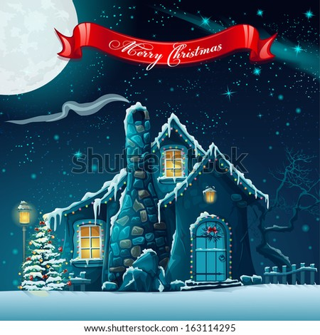 Greeting card with a Christmas tree and fairy house. Raster copy. - stock photo