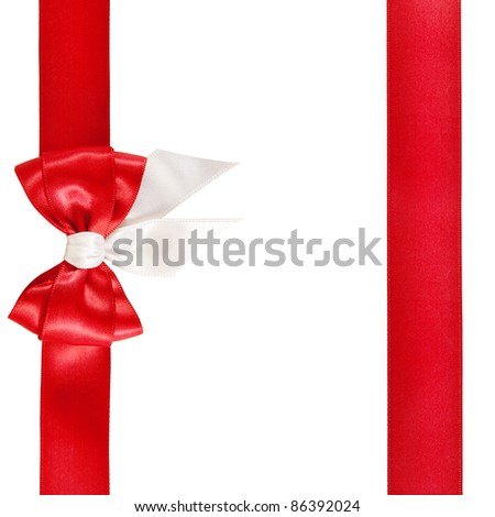 greeting card with a red bow - stock photo