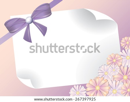 greeting card with bow and pink flowers - stock photo