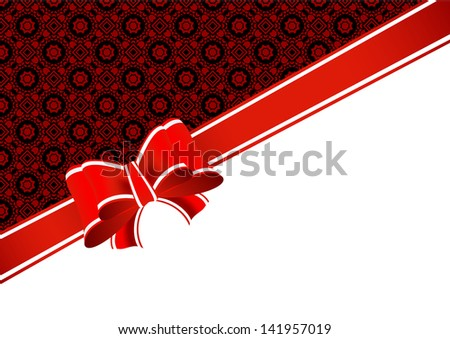 Greeting card with bow and place for text on the various holidays