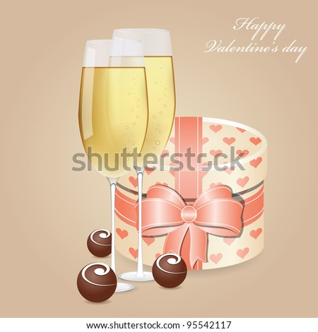 Greeting card with champagne and chocolate - stock photo