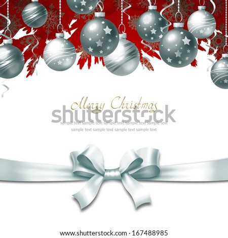 Greeting Card with Christmas balls, bow and place for text - stock photo