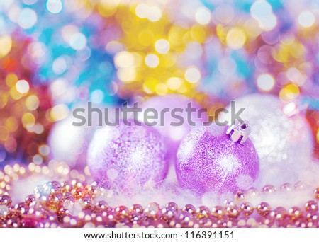 Greeting card with Christmas balls in light lilac design - stock photo