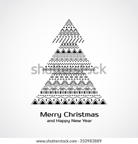 Greeting card with Christmas tree in tribal style. Raster version - stock photo