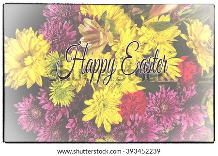 Greeting card with colorful arrangement of flowers with Happy Easter text and border - stock photo