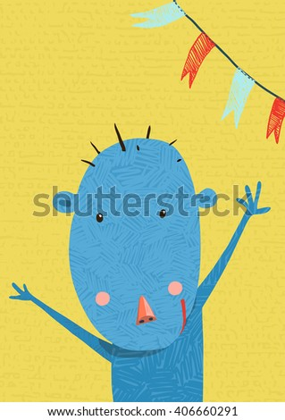 Greeting Card with Cute Monkey Character Cartoon. Monkey holiday or birthday design for kids. Cartoon ape wild cheerful child. Raster variant. - stock photo