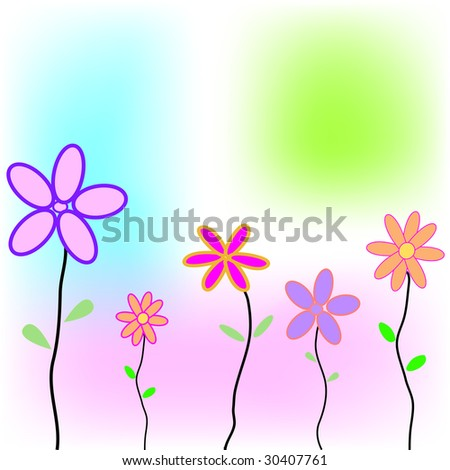 Greeting card with flowers and space for your own text - fully editable - stock photo