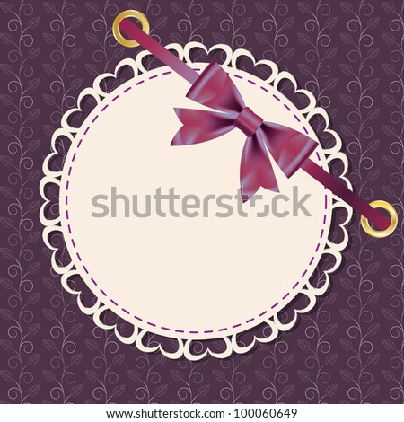 greeting card with frame and bow. Space for your text or picture.