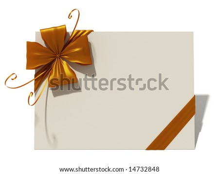 Greeting card with golden bow - stock photo