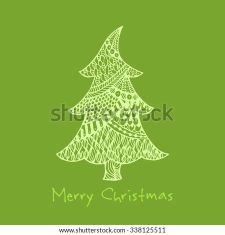 Greeting card with hand drawn zentangle Christmas tree. Raster version - stock photo
