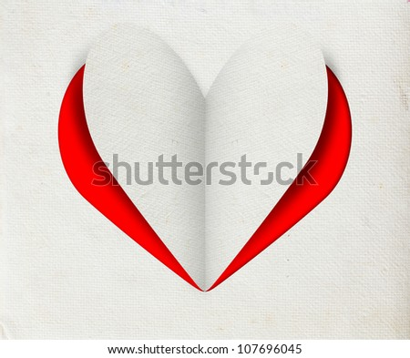 Greeting card with Heart from paper - stock photo