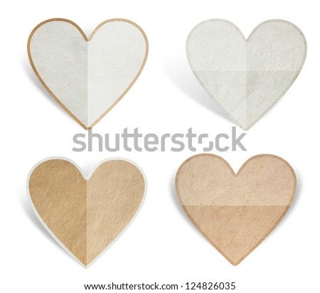 Greeting card with Heart from paper texture, isolated on white background ( Save paths for design work ) - stock photo
