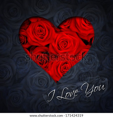 Greeting card with heart of red roses and text I Love You - stock photo