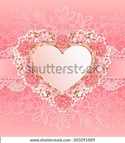 Greeting card with heart shape. invitation template - stock photo
