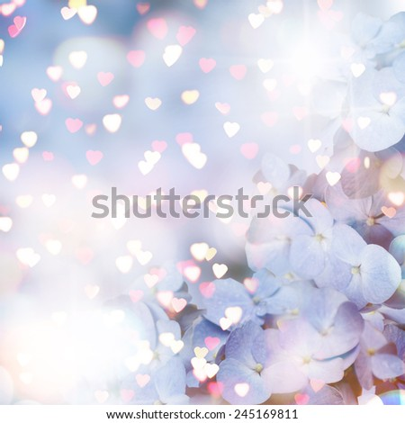 Greeting card with hortensia