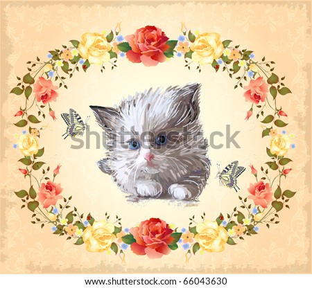 Happy Birthday Card Fluffy Kitten Imitation Vector 282741320 – Persian Birthday Cards