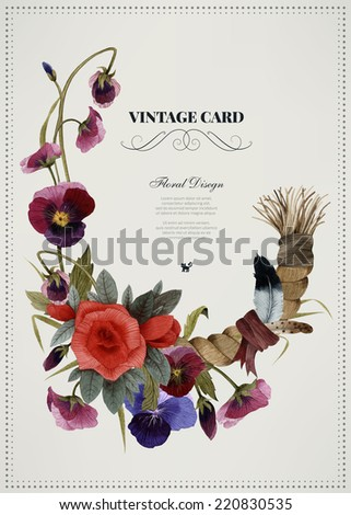 Greeting card with pansy, watercolor, can be used as invitation card for wedding, birthday and other holiday and  summer background