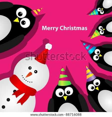 Greeting card with penguins and snowman