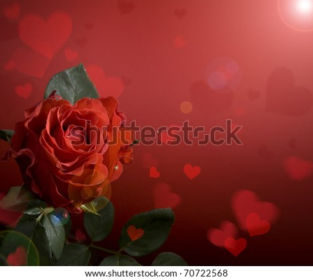 greeting card with red roses and heart