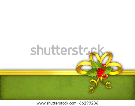 Greeting card with ribbon and holly berry - stock photo