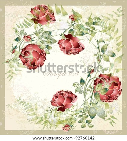 Greeting card with rose. Illustration  roses. - stock photo