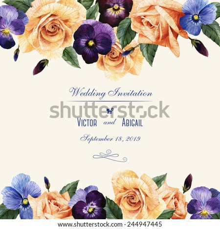Greeting card with roses and pansy, watercolor, can be used as invitation card for wedding, birthday and other holiday and  summer background