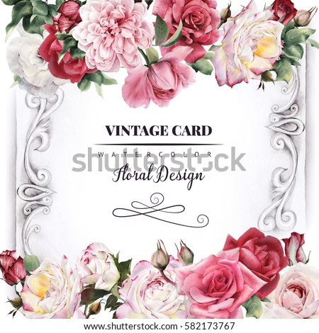 Greeting card roses watercolor can be stock illustration 582173767 greeting card with roses watercolor can be used as invitation card for wedding stopboris Images