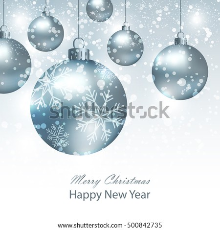 Greeting card with silver Christmas balls. Background with silver Christmas balls.  Illustration