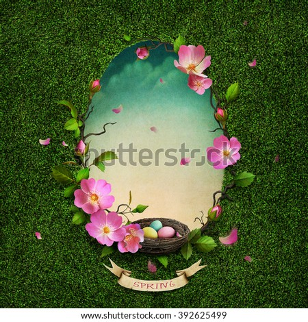 Greeting card with spring green background with flowers and nest.   - stock photo