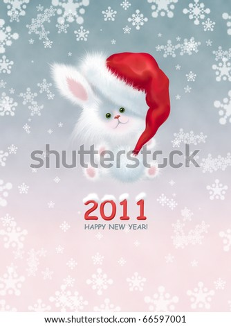 Greeting card with the New Year. Cute white bunny - a symbol of New Year - sitting in the snow in the Santa Claus hat - stock photo