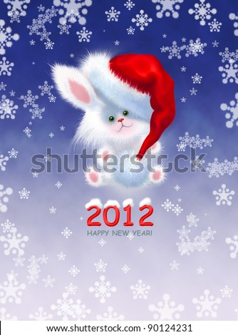 Greeting card with the New Year. Cute white bunny sitting in the snow in the Santa Claus hat - stock photo