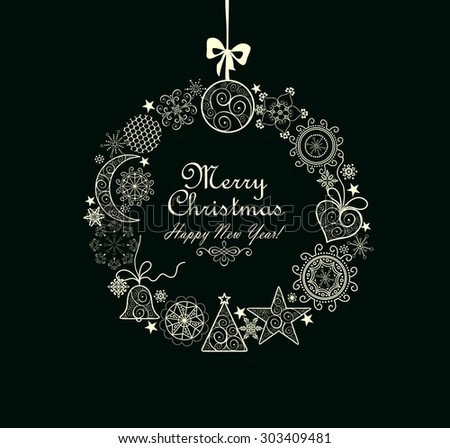 Greeting card with xmas wreath - stock photo