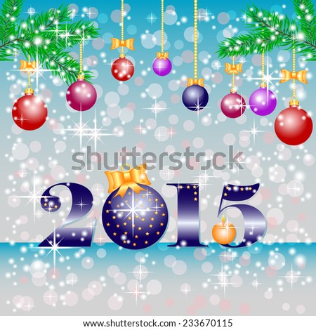 Greeting christmas background with balls and 2015 in blue colors. Rasterized illustration