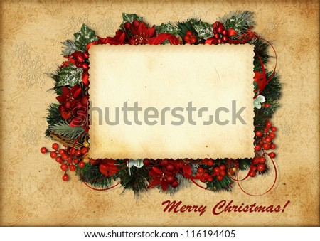 Greeting Christmas card - stock photo