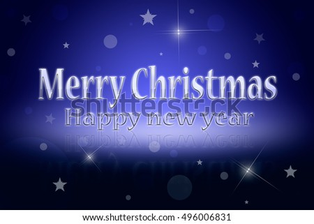 Greeting Christmas card (dark blue background). Glare and shine.