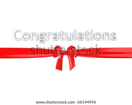 Greeting; congratulation with red ribbon on white background. - stock photo