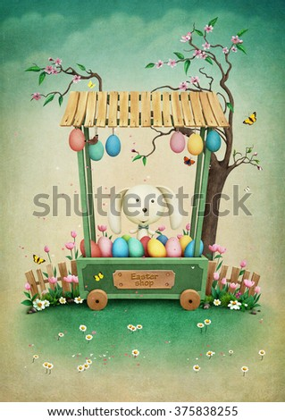 Greeting Easter card with  showcase with eggs and bunny - stock photo