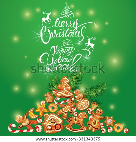 Greeting holiday Card of xmas gingerbread - cookies in angel, star, house, horse, reindeer and fir-tree branches. Hand written calligraphic text Merry Christmas and Happy New Year. Raster version