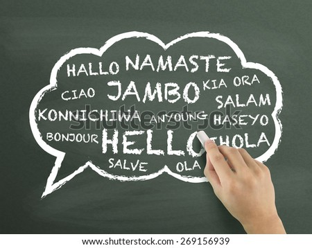 greeting in different language written by hand over chalkboard - stock photo