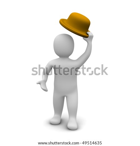Greeting  / man raising the hat. 3d rendered illustration.