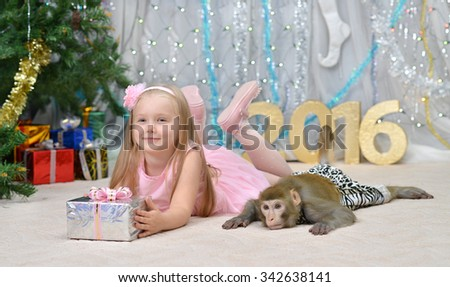 greeting new year card with monkey, well-dressed girl and gifts