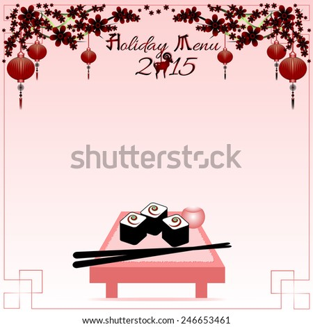 Greeting postcard with rolls and chinese sticks to the Chinese New Year 2015. Holiday menu. Raster illustration - stock photo