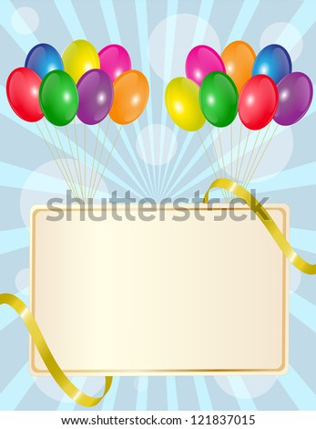 greeting sign with colorful balloons and golden ribbon - stock photo